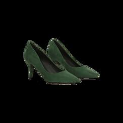 Décolleté scamosciate verdi con punta affusolata, tacco medio 7,5 cm, Scarpe, 122111552MFVERD, 002 preview