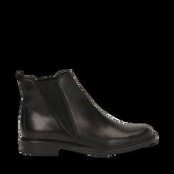Chelsea boots neri in vera pelle, Stivaletti, 147729504PENERO035, 001a