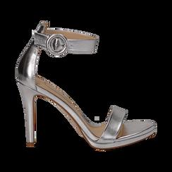 Sandali argento in laminato, tacco stiletto 10 cm , Saldi Estivi, 132127405LMARGE037, 001 preview