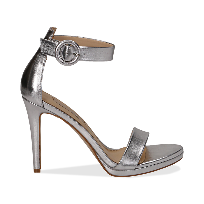 Sandali argento in laminato, tacco stiletto 10 cm , Saldi Estivi, 132127405LMARGE037