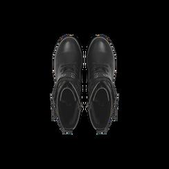 Anfibi neri con mini-oblò alla caviglia, Primadonna, 129328613EPNERO, 004 preview