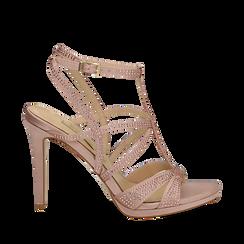 Sandali multilistino nude in raso, tacco 10,50 cm, Scarpe, 132127406RSROSA035, 001a