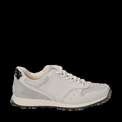 Sneakers bianche glitter, Scarpe, 130619672GLBIAN035, 001a