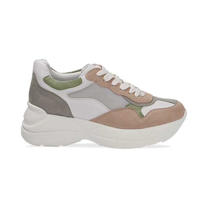 Dad shoes rosa in microfibra e tessuto tecnico, Scarpe, 132899259MFROSA036