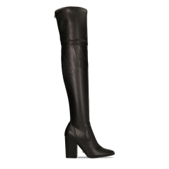 Stivali sopra il ginocchio con tacco 9,5 cm neri, Primadonna, 122186681EPNERO035, 001a