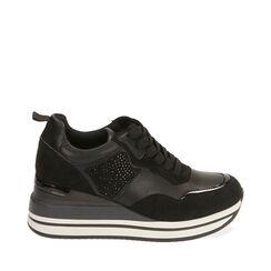 Sneakers nere, zeppa 6 cm , Primadonna, 182817233EPNERO035, 001a