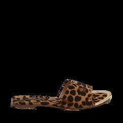 Mules flat leopard in microfibra, Saldi Estivi, 134989113MFLEOP035, 001a