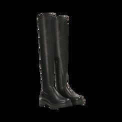 Stivali sopra il ginocchio neri, tacco 3,5 cm, Primadonna, 120681516EPNERO036, 002
