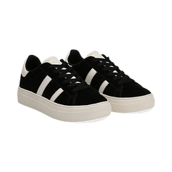 Sneakers nere in microfibra stile vintage Seventies, Scarpe, 130101157MFNERO036, 002 preview