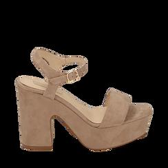 Sandalias en microfibra color beige, tacón de cuña 11 cm , SABOT DE TACÓN ALTO, 154968033MFBEIG035, 001a
