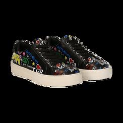 Sneakers nere in eco-pelle con scritte cartoon , Scarpe, 139301164EPNERO036, 002 preview