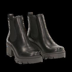 Chelsea boots neri in vera pelle, tacco 5 cm, Stivaletti, 147723517PENERO035, 002a