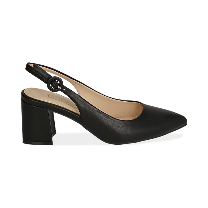 Slingback en eco-piel color negro, tacón 6,5 cm , Zapatos, 152123920EPNERO037