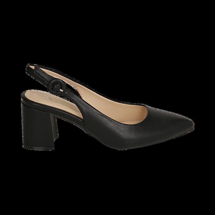 Escarpins en simili-cuir noir, talon 6,5 cm , Chaussures, 152123920EPNERO037