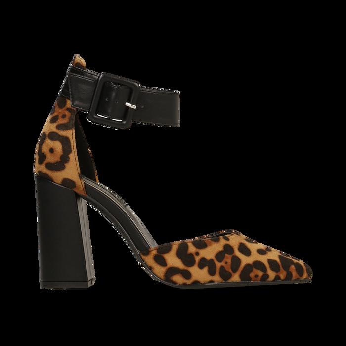 Décolleté leopard con maxi cinturino, tacco 9 cm, Scarpe, 124895575MFLEOP