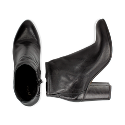 Ankle boots in vera pelle neri con tacco in legno 8 cm, Scarpe, 137725901PENERO035, 003 preview