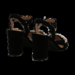 Sandali neri in microfibra con maxi-pietre, tacco 8 cm, Primadonna, 134900971MFNERO035, 004 preview