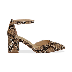 Décolleté en eco-piel con estampados de serpiente y tira color beige, tacón 6,50 cm, Zapatos, 152182391PTBEIG039, 001 preview