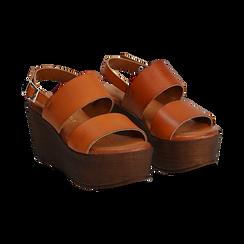 Sandali platform cuoio in eco-pelle, zeppa 8 cm,
