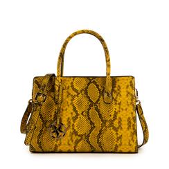 Borsa a mano gialla in eco-pelle snake print, Primadonna, 155702639PTGIALUNI, 001a