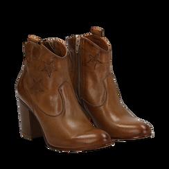 Ankle boots cuoio in pelle con stelle ricamate, tacco 7,50 cm, Scarpe, 157725907PECUOI036, 002a