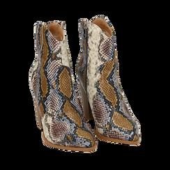 Santiags bleu/beige en simili-cuir imprimé serpent, talon 9 cm, Chaussures, 154930037PTBLBE036, 002a