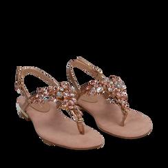 Sandali gioiello infradito nude in microfibra, Scarpe, 134994221MFNUDE035, 002a