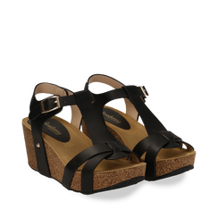 Sandali platform neri in eco-pelle, zeppa in sughero 7 cm , Primadonna, 132141452EPNERO037, 002a