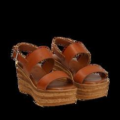 Sandali platform cuoio in eco-pelle, zeppa 8 cm , Saldi Estivi, 13A133255EPCUOI035, 002a