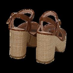 Sandali cuoio in eco-pelle con plateau, tacco 11 cm , Saldi, 133401986EPCUOI036, 004 preview