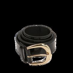 Cintura nera in vernice stampa cocco, Abbigliamento, 144045701VENEROUNI, 001a