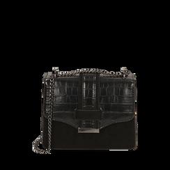 Borsa piccola nera stampa cocco, Primadonna, 161918018CCNEROUNI, 001a