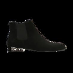 Chelsea Boots neri scamosciati, tacco basso scintillante, Scarpe, 124911285MFNERO036, 001 preview