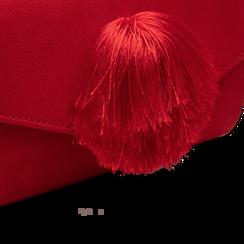 Pochette rossa scamosciata con pon-pon, Saldi Borse, 123369415MFROSSUNI, 004 preview