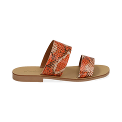 Mules flat arancio in vernice effetto snake skin, Saldi Estivi, 136767003PTARAN036, 001 preview