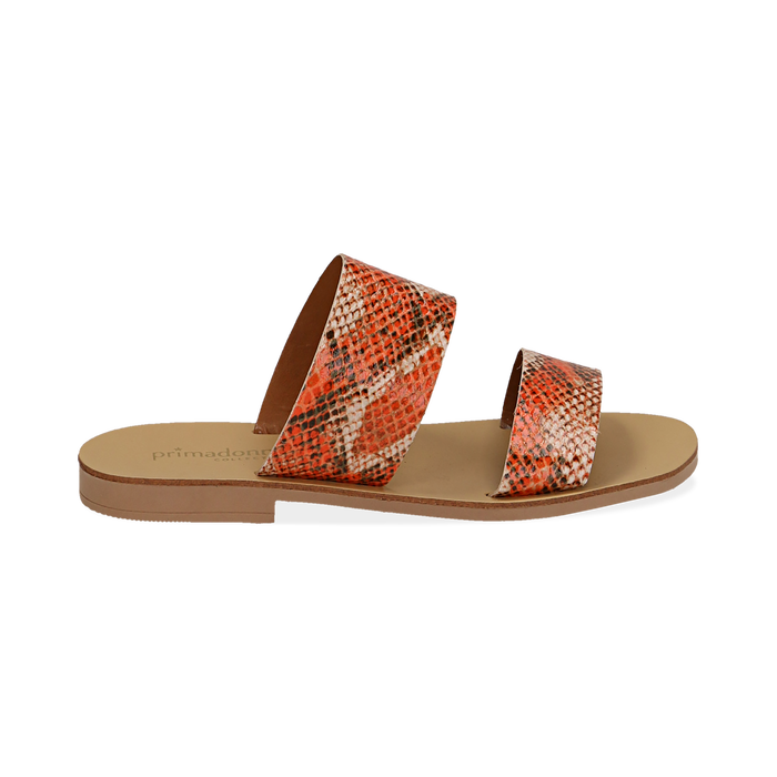 Mules flat arancio in vernice effetto snake skin, Saldi Estivi, 136767003PTARAN036
