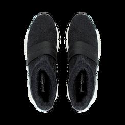 Sneakers nero-blu sock boots con suola in gomma bianca, Primadonna, 124109763TSNEBL035, 004 preview