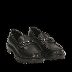 Mocasines de piel en color negro, Primadonna, 16B811410PENERO035, 002a