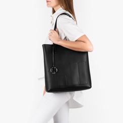 Shopper nera in eco-pelle, Primadonna, 153782784EPNEROUNI, 002a