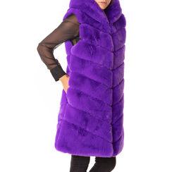 Gilet violet en fourrure écologique, Primadonna, 18B420543FUVIOLM, 001a