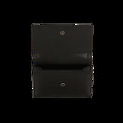 Portafoglio compatto nero in ecopelle con 6 vani, Saldi, 122200895EPNEROUNI, 006 preview