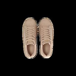 Sneakers rosa nude con suola extra platform zigrinata, Scarpe, 122618776MFNUDE, 004 preview