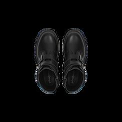 Anfibi neri con cinghie, tacco basso, Scarpe, 122808657EPNERO, 004 preview