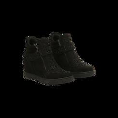 Sneakers nere con zip e chiusura a strappo, 129313816MFNERO035, 002