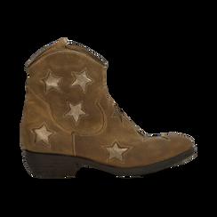 Stivaletti Camperos taupe in vero camoscio con ricamo stelle, tacco 4 cm, Primadonna, 125608094CMTAUP036, 001 preview