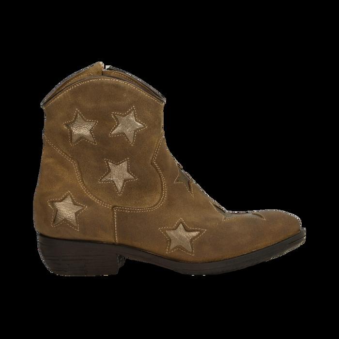 Stivaletti Camperos taupe in vero camoscio con ricamo stelle, tacco 4 cm, Primadonna, 125608094CMTAUP036