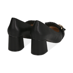 Mocassins noir en simili-cuir avec des franges et une maxi-chaîne, talon de 6 cm, Chaussures, 152186582EPNERO036, 004 preview