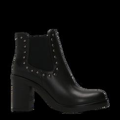 Tronchetti neri con profilil elastici e mini-borchie, tacco 5 cm, Primadonna, 129321587EPNERO036, 001a