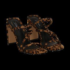 Sandali con punta quadrata leopard in microfibra, tacco 10 cm, Sandali con tacco, 131785322MFLEOP035, 002 preview