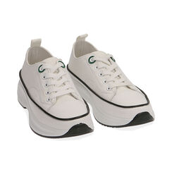 Sneakers chunky bianche in canvas, Primadonna, 17K910193CABIAN035, 002 preview